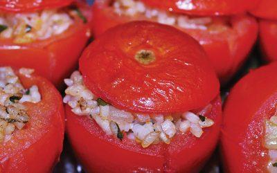 Gevulde tomaten met risotto